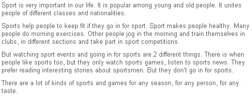 the role of sports in our life